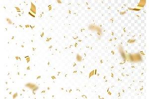 Falling shiny golden confetti