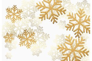 Winter holiday pattern with golden bright shining snowflakes with gold glitter