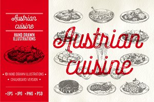 Austrian cuisine illustrations
