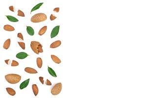 almonds isolated on white background with copy space for your text. Top view. Flat lay pattern