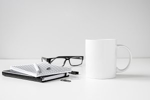 Black and white coffee mug mock up