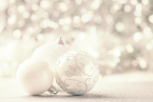 Silver and White Christmas balls