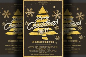 Gold Christmas Party Flyer Template