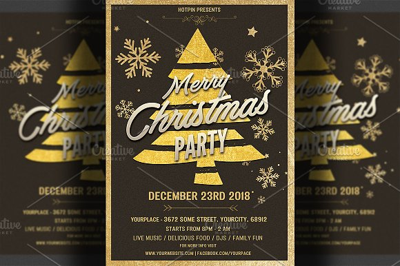 gold christmas party flyer template flyer templates creative market
