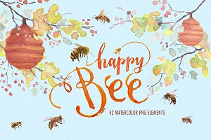 Watercolor happy bee clipart set
