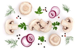 mushrooms with onion parsley leaf dill and peppercorns isolated on white background. top view