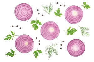 Sliced red onion rings with parsley leaves and peppercorns isolated on white background. Top view. Flat lay pattern