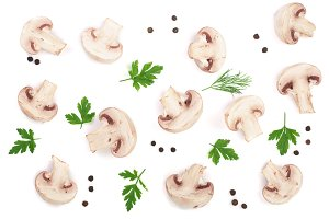 mushrooms with parsley leaf peppercorns isolated on white background. top view. Flat lay