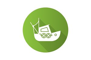 Fisher boat flat design long shadow glyph icon