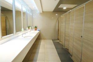 Toilet interior of public toilet.