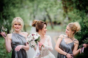Pretty bride and bridesmaids