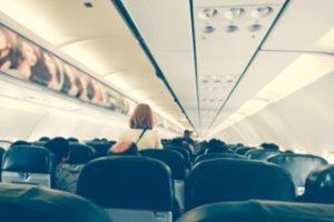 Blurred interior of airplane