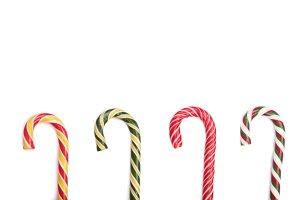 Candy cane striped isolated on white background with copy space for your text. Top view
