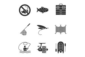 Fishing glyph icons set