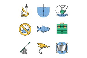 Fishing color icons set