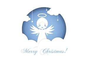 Christmas angel paper card