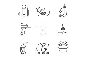 Fishing linear icons set