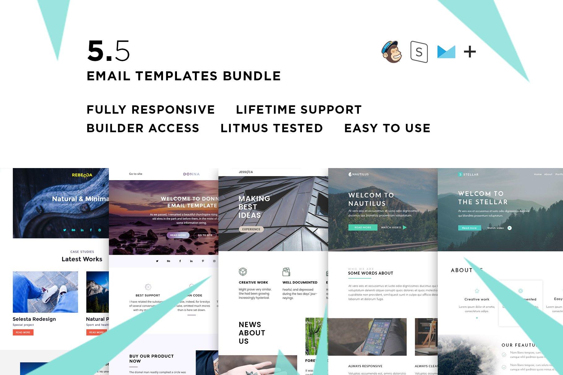 10 Email templates bundle + Builder ~ Email Templates ~ Creative Market
