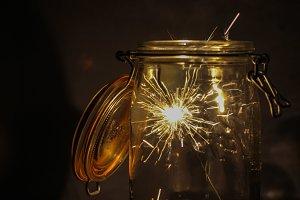 Sparklers in jar