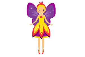 Cute fairy with purple wings
