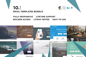 10 Email  templates bundle + Builder