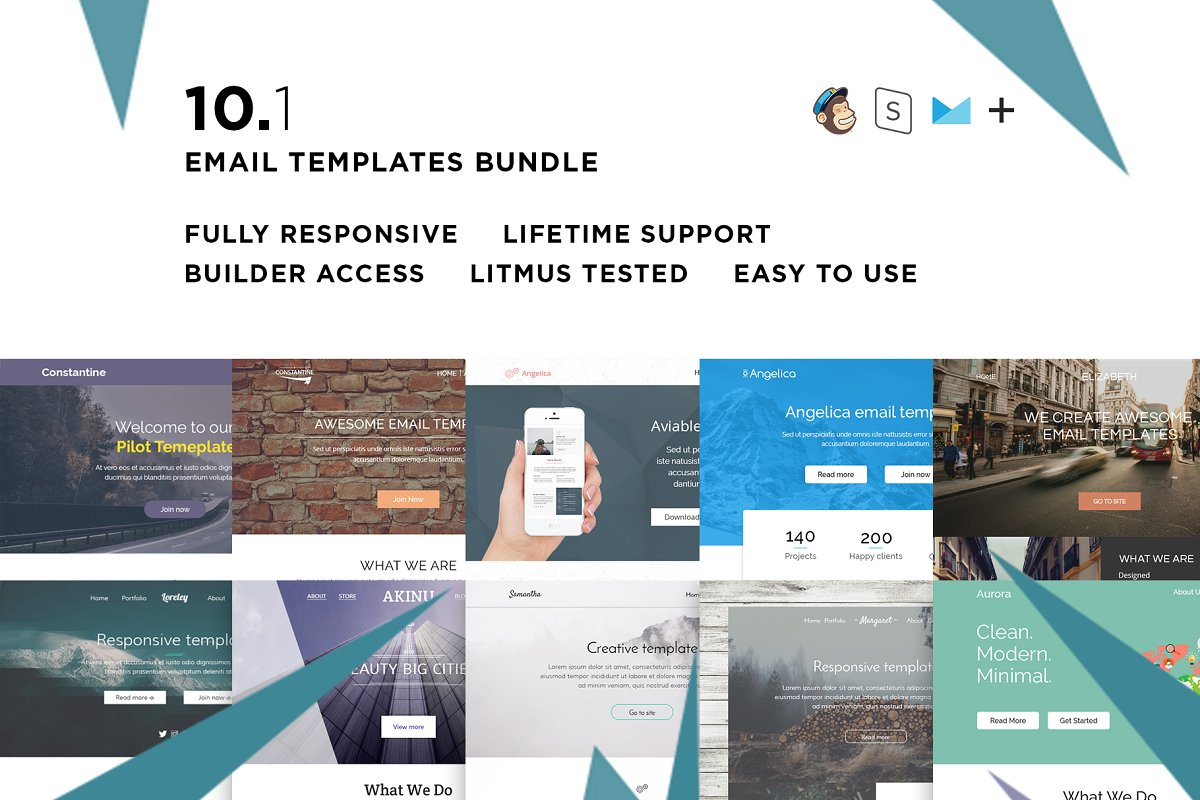 10 Email templates bundle by ThemesCode - preview creative market bundle 10 1 - 10 creative and affordable MailChimp templates