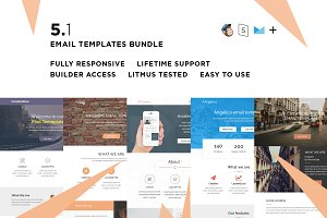 5 Email templates bundle I + Builder