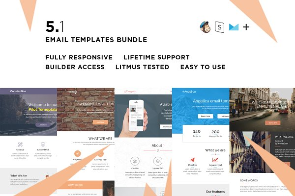 Email Templates: ThemesCode - 5 Email templates bundle I + Builder