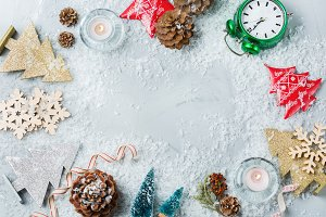 Christmas new year holiday background with festive decoration