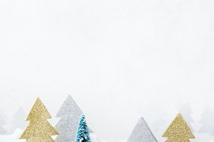 White winter snow christmas forest for greeting card