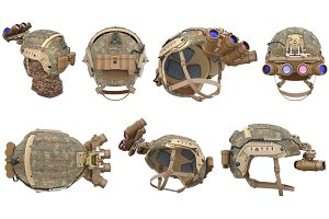 Helmet vision device set