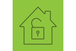 Unlocked house linear icon