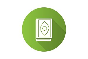 Quran book flat design long shadow glyph icon