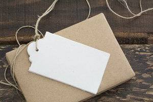 gift box, recycled paper and label