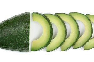 sliced avocado isolated on white background close-up. Top view