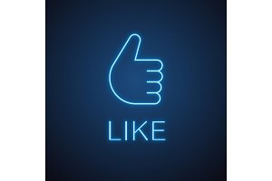 Thumbs up hand gesture neon light icon