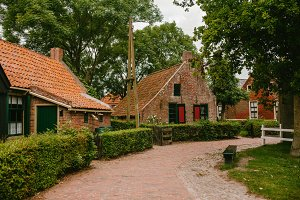 Old brick houses in the Netherlands.