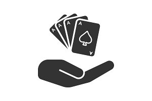 Open hand with playing cards glyph icon