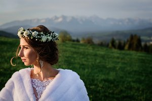 A bride in flower wreath