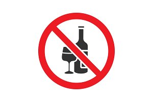 Forbidden sign with wine bottle and glass glyph icon