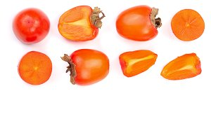 persimmon isolated on white background with copy space for your text. Top view. Flat lay pattern