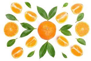 orange or tangerine with mint leaves isolated on white background. Flat lay, top view. Fruit composition