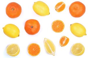 lemon and tangerine isolated on white background. Flat lay, top view. Fruit composition