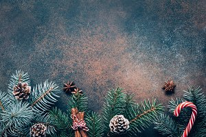 Winter wallpaper with fir tree