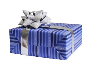 Blue gift box with silver ribbon