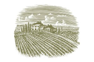 Woodcut Vintage Italian Vineyard