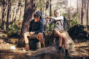 Hiking couple relaxing