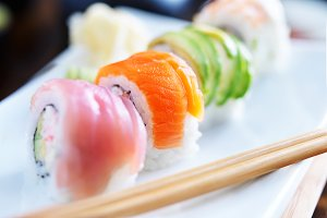 colorful rolls of sushi