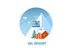 Ski resort in mountains, winter time, snow and fun.Flat vector illustration