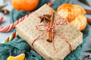 Christmas gift box, candy cane, tangerines